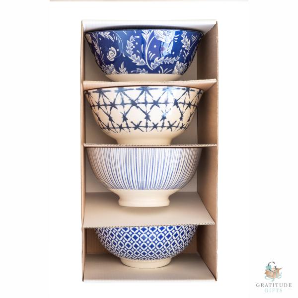 Medium Ceramic Bowl Box Set - Blue Mix