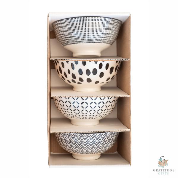 Small Ceramic Bowl Box Set - Black Mix