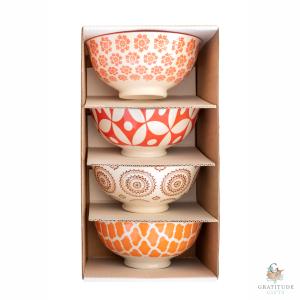 Small Ceramic Bowl Box Set - Orange & Brown Mix