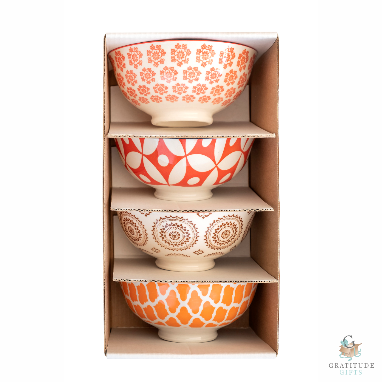 Small Ceramic Bowl Box Set - Orange & Brown Mix