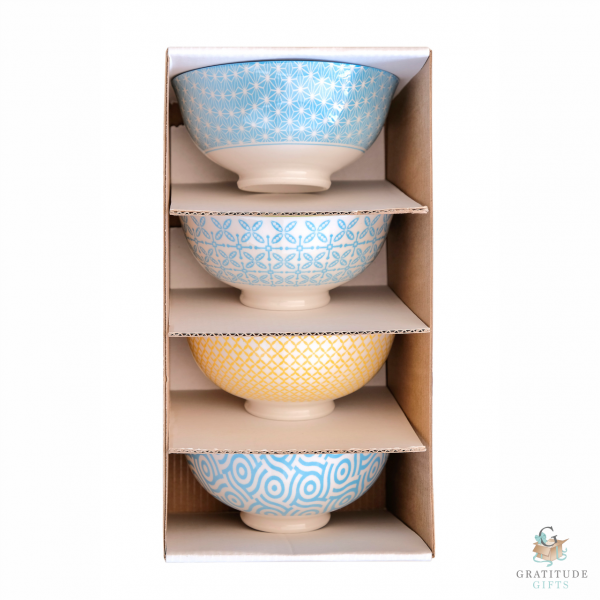 Medium Ceramic Bowl Box Set - Blue & Yellow Mix