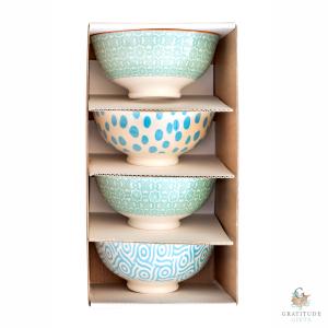 Small Ceramic Bowl Box Set - Green & Blue Mix