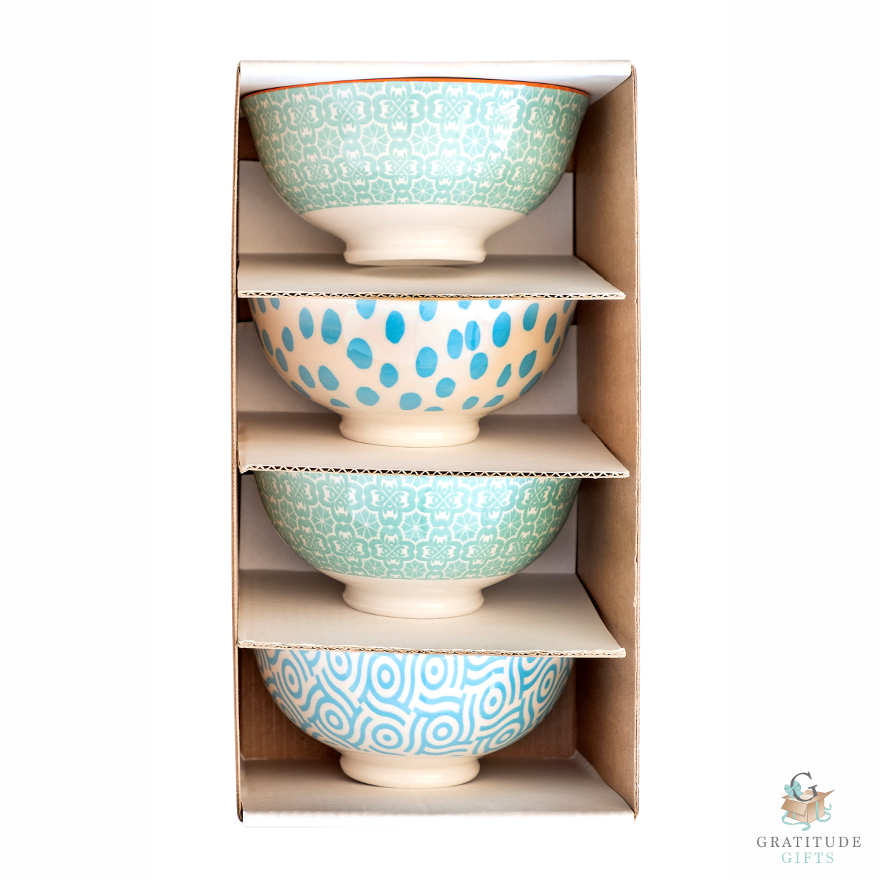Small Ceramic Bowl Box Set - Green & Blue Mix