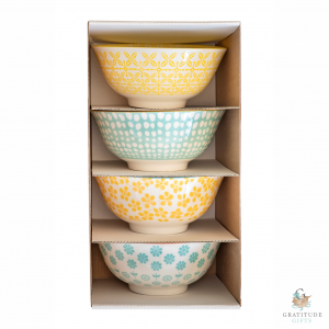 Small Ceramic Bowl Box Set - Blue & Yellow Mix