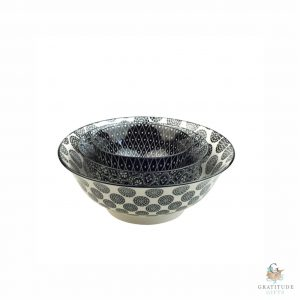 Ceramic Bowl Nest Set - Black Mix