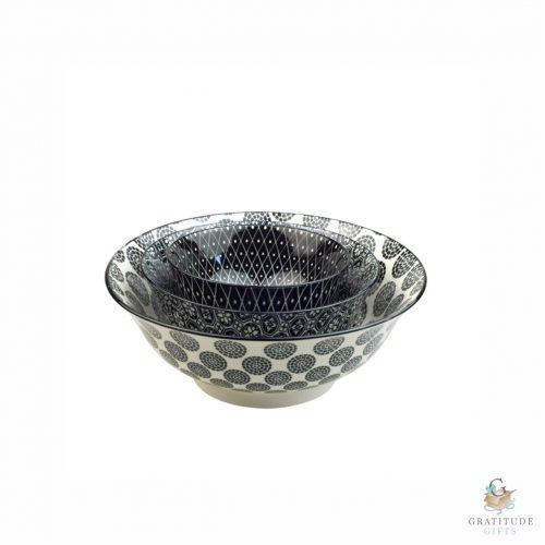 Ceramic Bowl Nest Set - Black Mix
